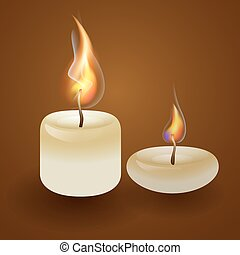 Vector illustration with  candles on a brown background.