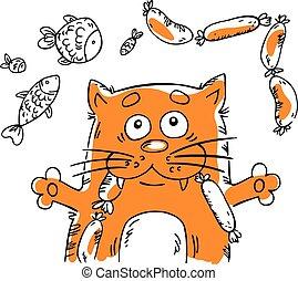 Vector illustration with cartoon cat.
