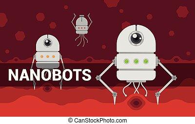 Vector illustration with cartoon flat nanobots in blood...