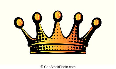 Vector illustration with color crown. Isolated clipart