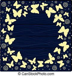 Vector illustration with colorful butterflies