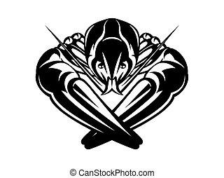 Vector illustration with crayfish on white background