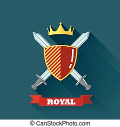 vector illustration with crossing swords, shield and crown in flat design with long shadow and red ribbon. coat of arms