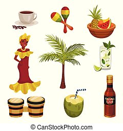 Vector illustration with cuban culture. Images of traditional items.