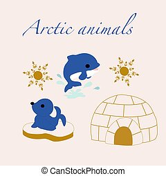 Vector illustration with cute arctic animals