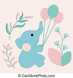 vector illustration with cute elephant and pastel flowers