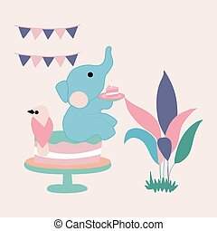 vector illustration with cute elephant, cake and leaves