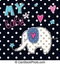 Vector illustration with cute elephant