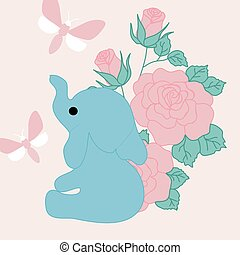 vector illustration with cute elephant, pink roses and butterfly