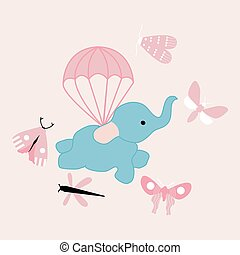 vector illustration with cute flying elephant
