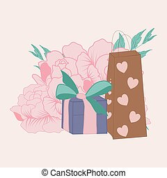 vector illustration with cute gifts and peonies