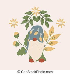 vector illustration with cute gnome and flowers