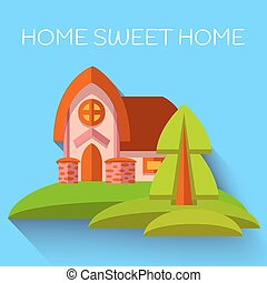 Vector illustration with cute house in flat style