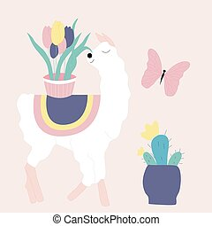 vector illustration with cute llama and butterfly