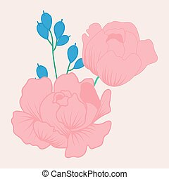 vector illustration with cute pink peonies