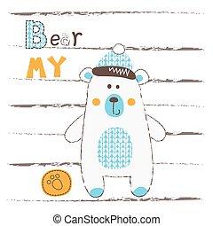 Vector illustration with cute polar bear