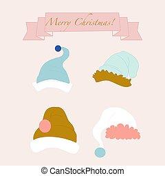 Vector illustration with cute santa hats