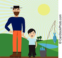 Vector illustration with dad and son after a fishing trip