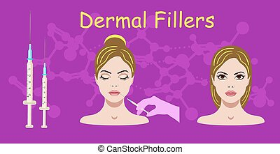 Vector illustration with dermal filler process on the purple background