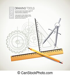 Vector illustration with drawing and drawing tools