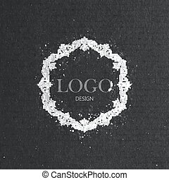 vector illustration with floral frame on cardboard texture. ...