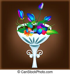 Vector illustration with flower bed isolated for design works
