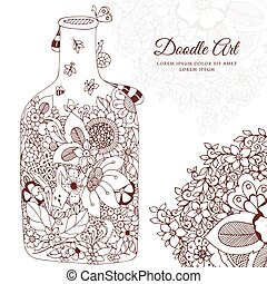 Vector illustration with flowers bottle. Doodle frame. Coloring book anti stress for adults. Brown and white.