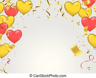 Vector illustration with gold and red balloons in the shape of heart. or Wedding invitation festive decoration. Vector EPS10
