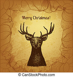Vector illustration with hand drawn Christmas deer