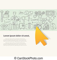 Vector illustration with hand drawn doodles business icons.
