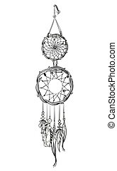 Vector illustration with hand drawn dream catcher. Feathers and beads.