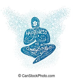 I wish happiness to everybody - Vector illustration with...