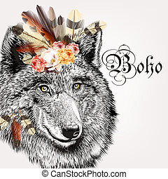 Vector illustration with hand drawn portrait of wolf