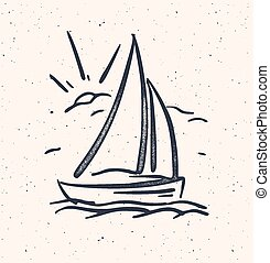 Vector illustration with hand drawn sail boat. Isolated. -...