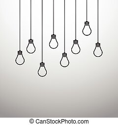 Vector illustration with hanging light bulbs