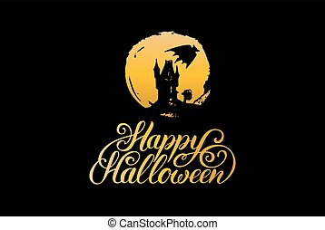 Vector illustration with Happy Halloween lettering. All Saints Eve background. Festive symbols for greeting card, poster.