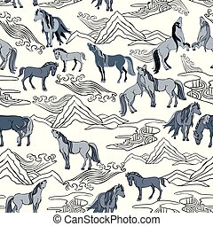 Vector Illustration with horses