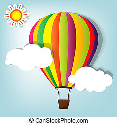 vector illustration with hot air balloon
