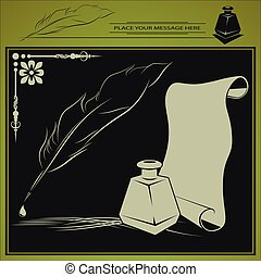 inkstand, pen and paper - vector illustration with inkstand...