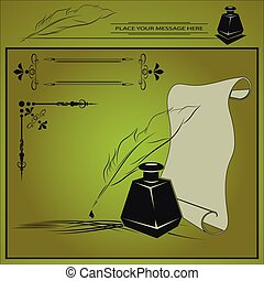 vector illustration with inkstand, pen, paper, and frame ...