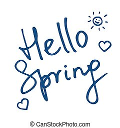 Vector illustration with inscription Hello Spring in hand lettering style with hearts. Classic blue colour