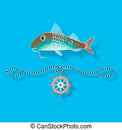 Vector illustration with isolated fish and nautical design elements