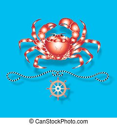 Vector illustration with isolated shrimps and nautical design elements