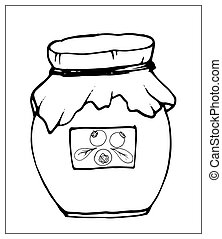 Vector illustration with jar of jam on a white background.