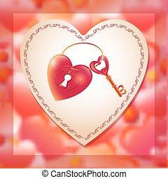 Vector illustration with key and heart keyhole. Romantic creati
