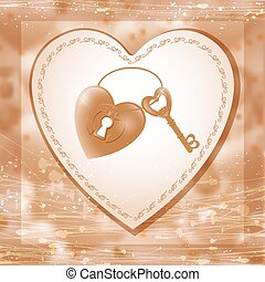 Vector illustration with key and heart keyhole.