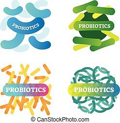 Vector illustration with labeled, artistic and colorful probiotics icon set. Stylized collection with anatomical good bacteria closeup. Health, biology and wellbeing basics.