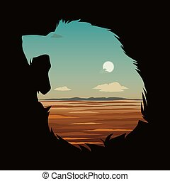 Vector illustration with lion head and double exposure effect.