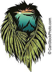 Vector illustration with lion head and double exposure...
