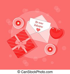 Vector Illustration With Love Celebration Design Elements And Be Mine Valentine Writing On Letter Paper. Composition In Cartoon Flat Style In Red Colours With Gift Box, Envelope And Heart. Placard.